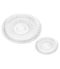 conjunto 1 prato 31 cm e 6 pratos 16 cm para sobremesa - branco