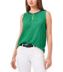 vince camuto embroidered crinkle top