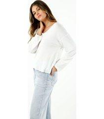 camiseta de mujer, cuello amplio en v, manga larga, color blanca