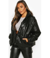 petite pu padded jacket, black