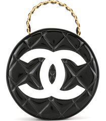 chanel pre-owned 1995 chain vanity round handbag - black