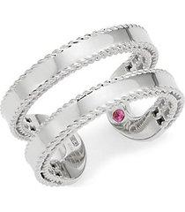 18k white gold & ruby open ring