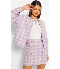 dogtooth collarless button blazer, lilac
