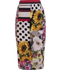 dolce & gabbana patchwork charmeuse midi skirt