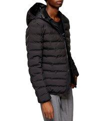 men's topman alien liner puffer jacket, size small - black