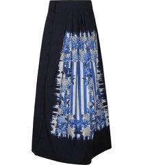 alberta ferretti flared pleated skirt