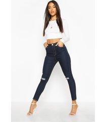 frayed hem distressed skinny jeans, dark blue