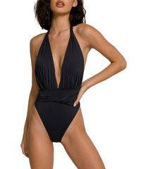 plus size women's good american waist cincher one-piece swimsuit, size 5 - black