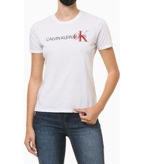 blusa feminina logo centralizado no peito branca calvin klein - pp