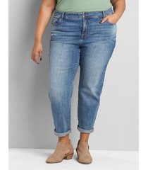 lane bryant women's signature fit boyfriend capri jean - medium wash 28 medium denim