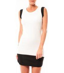 korte jurk vero moda signe s/l mini dress 10111107 blanc/noir