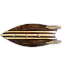 cabideiro prancha surf soul fins rãºstico madeira - bege - dafiti