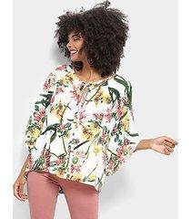 blusa top moda floral amarração feminina