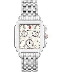 women's michele deco diamond dial watch head & bracelet, 33mm