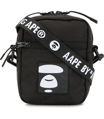 aape by *a bathing ape® embroidered patch messenger bag - black