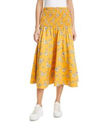 women's tanya taylor lyla floral smocked midi skirt, size large - yellow