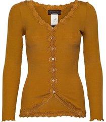 silk cardigan regular ls w/rev vint gebreide trui cardigan geel rosemunde
