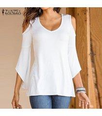 zanzea mujeres hombro asimétrico de manga tops elástico blusa de la camiseta blanca -blanco