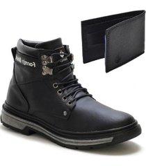 kit bota coturno masculino casual conforto leve + carteira - masculino
