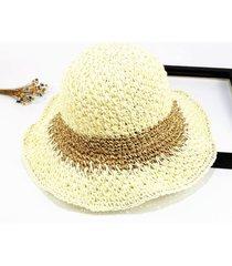 sombrero para mujer, hecho a mano paja ganchillo sra.-blanco