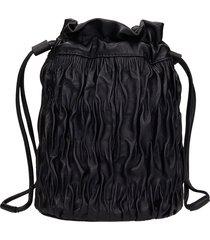 ganni napa purse clutch in black leather