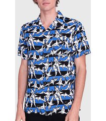camisa ellus guayabera shark lines multicolor - calce regular
