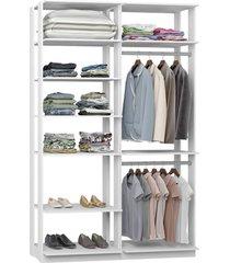 closet com 7 prateleiras 2 cabideiros branco lilies mã³veis - branco/multicolorido - dafiti