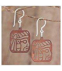 recycled wood dangle earrings, 'mayan essence in brown' (guatemala)
