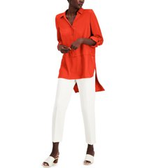 willow drive button-front asymmetrical-hem tunic top