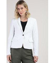 blazer feminino listrado risca de giz com bolsos branco