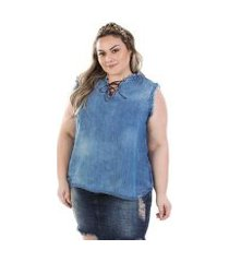 regata feminina jeans com decote trançado plus size