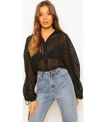 doorzichtig gestreepte blouse met geplooide mouwen, black