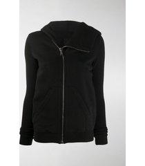 rick owens drkshdw asymmetric collar zip-up hoodie