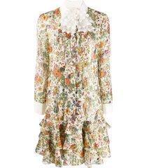 tory burch peacock print shirt dress - white
