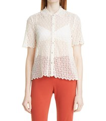 rebecca taylor pina embroidery short sleeve shirt, size large in natural at nordstrom