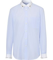 burberry crystal-embellished pinistriped shirt - blue
