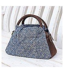 leather-accented cotton batik handbag, 'hmong crossroads' (thailand)