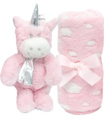 kit gift manta + pelúcia buba unicórnio rosa - 7756