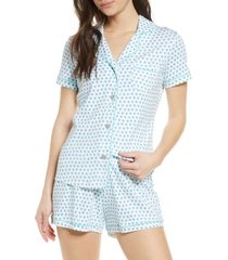women's roller rabbit heart short pajamas, size medium - green