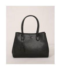 bolsa feminina grande estruturada preta