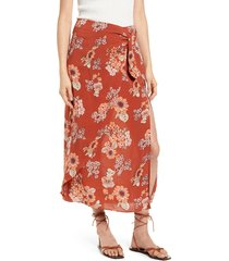 women's free people sunray floral print faux wrap skirt, size 4 - pink