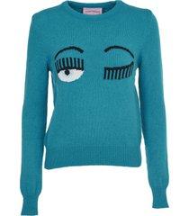 chiara ferragni green flirting sweater
