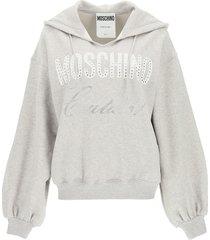 moschino logo sweatshirt with hoodie