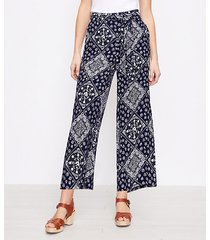 loft the tie waist pull on wide leg pant in bandana print