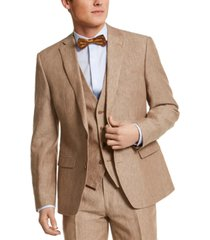 bar iii men's slim-fit tan pinstripe linen suit jacket, created for macy's