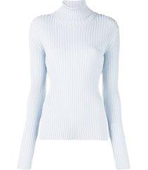 proenza schouler lightweight ribbed turtleneck sweater - blue