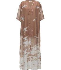 layla placement print maxi dress galajurk roze j. lindeberg