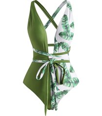 tropical leaf cross wrap one-piece swimsuit