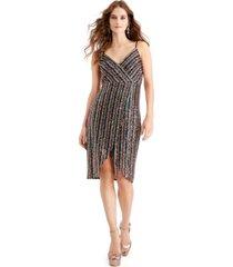 betsey johnson multicolored-sequin wrap dress