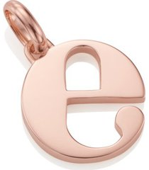 alphabet pendant e, rose gold vermeil on silver